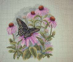 Butterfly and Daisies by StychoKiller