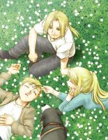 Ed,Winry and Al by lovefma