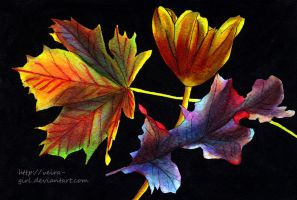Autumn. Flower and leaves. by VeIra-girl