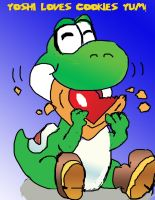 Yoshi Loves His Cookies by Risingstar9109