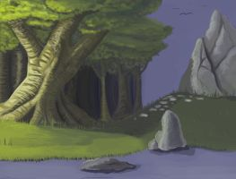 Tree and lake [practice] by WorldsandCenturies