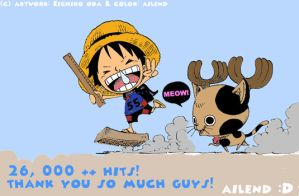 26,000 - Luffy and Chopper by ailend