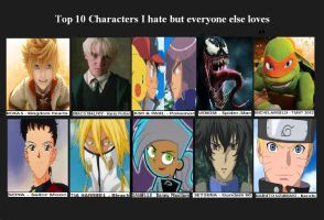 Top 10 Characters I Hate But Everyone Else Loves by RisenWarrior