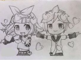 Kagamine Rin and Len - Vocaloids by JustAHobbyist