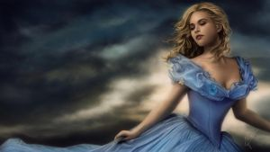 painting Lily James Cinderella by Ineer