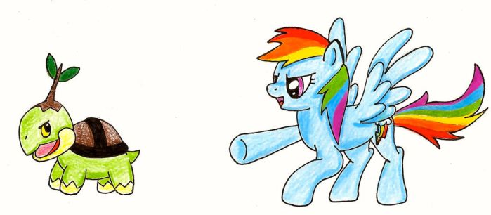 Rainbow Dash and Tank the Turtwig by Bubble-the-Wartortle