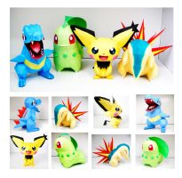 Johto Starters and Spiky-Ear Pichu Papercraft