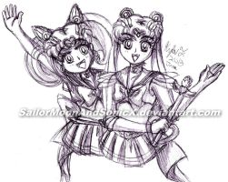 Sailor Moon and Chibimoon Pen Sketch by SailorMoonAndSonicX