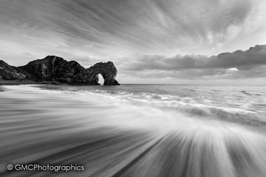 The Dynamic of Durdle Door BnW by GMCPhotographics