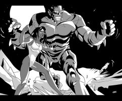SheHulk and Abominable by Cabbral