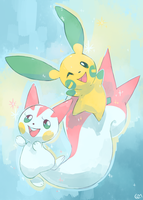 [Day 20] Minun and Pachirisu by PinkGermy