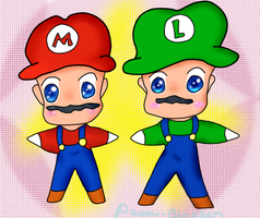 Mario and Luigi Chibi doodle by Paopu-Blossom