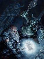 Dwarf Vs Orc by JohnDotegowski