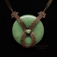 Copper and Green Aventurine Donut Necklace by Gailavira
