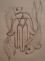 hamsa with fish by Degoe