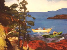 Evening blue after George Bellows (acrylics) by Irtaza1