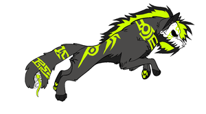 Mean and Green Tribal Skullywulf Demon by Adoptable-Zee