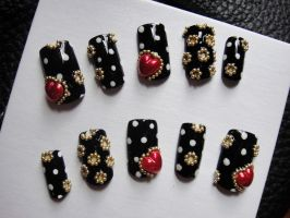 CIRCLE DOTTED BLACK NAILS SET by jadelushdesigns