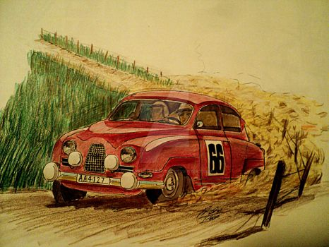 Saab 96 Rally drawing by prestonthecarartist