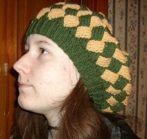 Entrelac Green and Gold Slouch Hat by CherokeeCampFireGirl