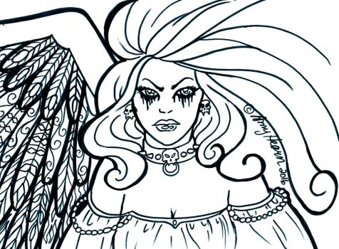 Goth Angel Colouring Page by Elfmaid