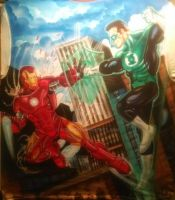 IRON MAN-vs-GREEN LANTERN Airbrushed Shirt by WEDMER