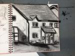 charcoal drawing study of a house by ROBOT-S