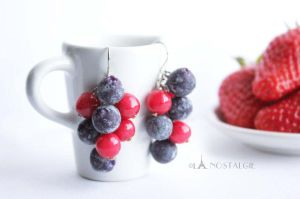 Blueberries and Red Berries Handmade Earrings by LaNostalgie05