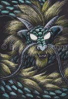 ACEO Gold-Maned Dragon by benwhoski