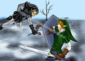 Link vs Dark Link by naoguiarts