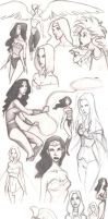 Wonder Woman Hawgirl and Emma by whutnot
