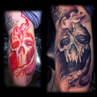 freehand skull tricep by A-I-M-L-ArtIsMyLife