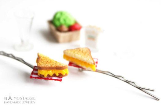 Miniature Grilled Cheese Sandwich Hair Pins by LaNostalgie05
