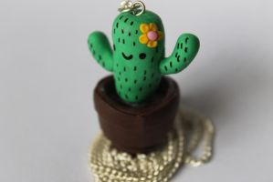 Polymer clay cactus necklace by ChroniclesOfKate