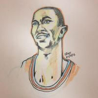 Derrick Rose Drawing by finkgraphics