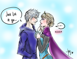 Jack Frost and Elsa: Let it Go by Sidney-Chuu