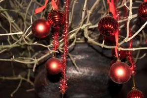 hanging red christmas bulbs 1 by steppelandstock