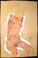 Seated Nude :Egon Schiele: by p341250n