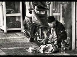 Lunch bw by PortraitOfaLife
