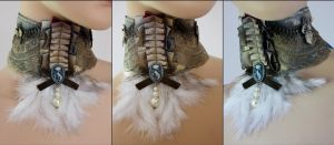 Cat cameo feather jabot by Pinkabsinthe