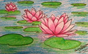 Waterlilies- oil pastels by Ravenclaw1401