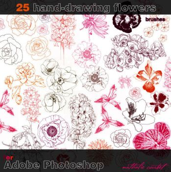 25 hand drawn flower brushes for Adobe Photoshop by nataliecourbete