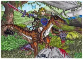 Link and Velociraptor by raptorthekiller