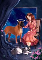 Commission: Patricia's mum and her beautiful dogs by NaiLyn