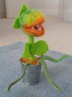 needle felted and sewn Audrey II by Knuckers-Hollow