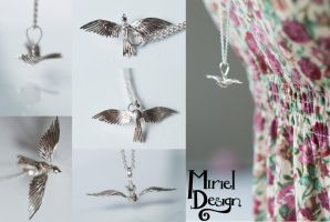 Silver Bird in Flight by MirielDesign