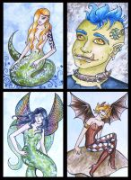ATCs: Creatures of Myth by Athalour