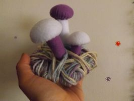 White and Purple Felt Mushrooms by lovechairmanmeow