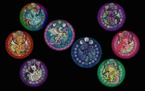 -RESIZE- MLP:FiM Stained Glass Wallpaper -no text- by craigerzF