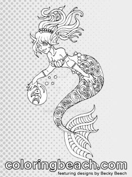 Printable Swirly Mermaid Coloring Page by Sirenz